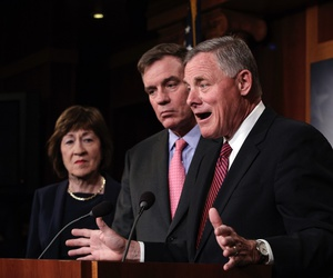 Intelligence Committee Chairman Sen. Richard Burr, center, joined from left by Sen. Susan Collins, Vice Chairman Mark Warner and Sen. James Lankford at an election security press conference Tuesday in Washington, D.C.