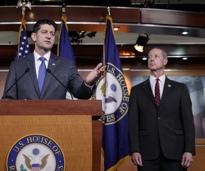 Speaker of the House Paul Ryan, R-Wis., joined by House Armed Services Committee Chairman Mac Thornberry, R-Texas, right, speaks about the massive government spending bill moving through Congress.