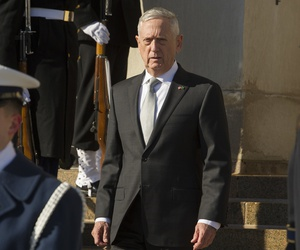 Defense Secretary Jim Mattis waits to welcome Saudi Crown Prince Mohammed bin Salman to the Pentagon on March 22.