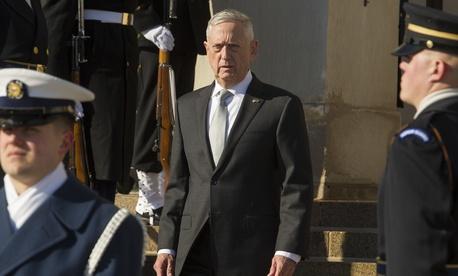Defense Secretary Jim Mattis waits to welcome Saudi Crown Prince Mohammed bin Salman to the Pentagon on March 22.
