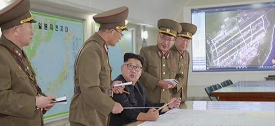 North Korean leader Kim Jong Un receiving a briefing in Pyongyang, August 2017.