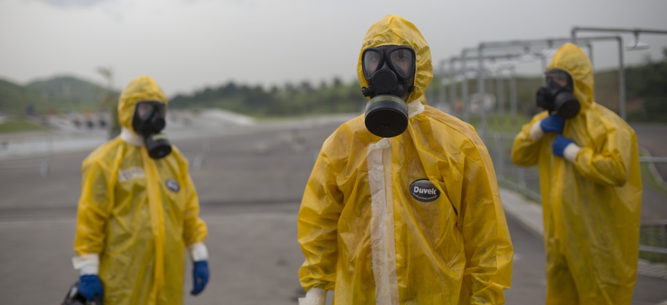 Army soldiers dressed in hazmat suits take part in a security drill at the Deodoro Olympic Park, in Rio de Janeiro, Brazil, Friday, March 11, 2016. Brazilian army personnel took part in the security drill as preparation for the upcoming 2016 Olympic Games