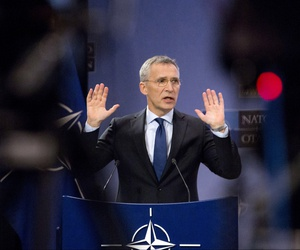 NATO Secretary General Jens Stoltenberg speaks during a media conference at NATO headquarters in Brussels on Tuesday, Feb. 13, 2018.