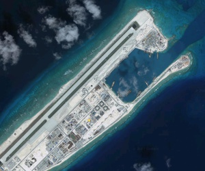 July 2017 photo of Fiery Cross Reef in the Spratly Islands in the South China Sea.