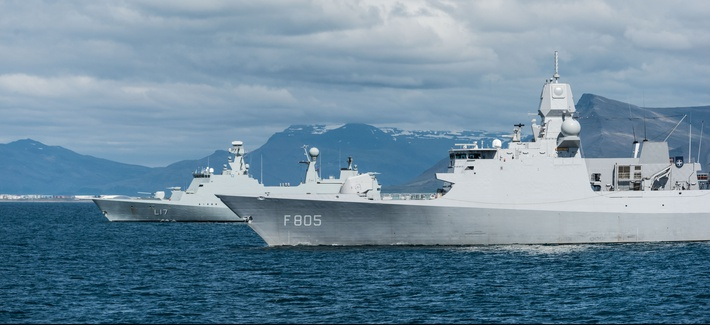 NATO forces sail off Reykjavik during the 2017 Dynamic Mongoose exercise.