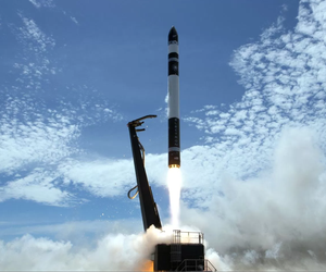 Rocket Lab's Electron rocket zooms into orbit.