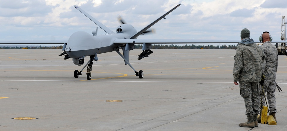 A MQ-9 Reaper from the 174th Fighter Wing, New York Air National Guard, returns from its first flight at Wheeler-Sack Army Airfield, Ft. Drum, NY.