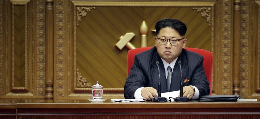 North Korean leader Kim Jong Un listens during the party congress in Pyongyang, North Korea, Monday, May 9, 2016.