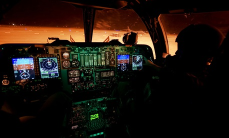 The cockpit of a B-1B bomber at Dyess Air Force Base, Texas.