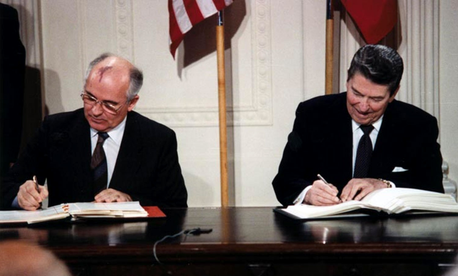 President Reagan and General Secretary Gorbachev signing the INF Treaty in the East Room of the White House on Dec. 8, 1987.