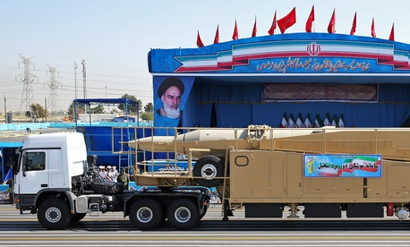 2016 photo of Iran's Sejjil, a surface-to-surface, a two-stage, solid-fuel ballistic missile, displayed by the Revolutionary Guard just outside Tehran.