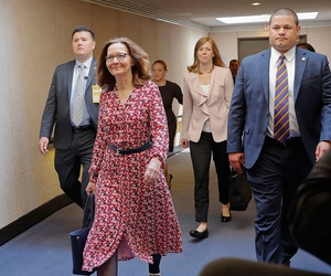 CIA Director Nominee Gina Haspel walks to a holding room before heading to her next meeting, on Capitol Hill on Monday.