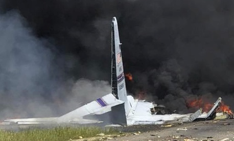 An Air National Guard C-130 cargo plane after it crashed near Savannah, Georgia.