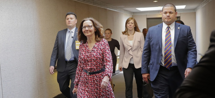 CIA Director Nominee Gina Haspel walks to a holding room before heading to her next meeting, on Capitol Hill in Washington, Monday, May 7, 2018. Haspel was meeting with senators today whose support could be key to her confirmation.