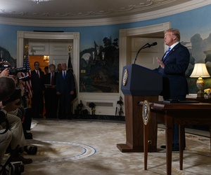 President Donald Trump delivers a statement on the Iran nuclear deal from the Diplomatic Reception Room of the White House, Tuesday, May 8, 2018