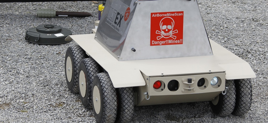 In this photo taken Tuesday, May 18, 2010, the robot scanner vehicle Iltex, of the German company GeoTec, is presented during the European Land Robot show in Hammelburg, southern Germany