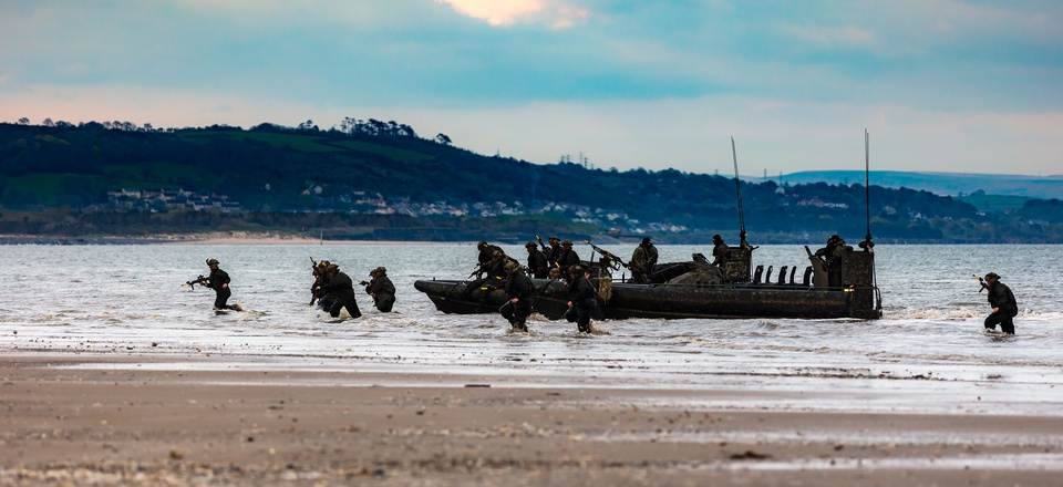Members of 40 Commando Royal Marines land as part of Exercise Joint Warrior on April 29, 2018. Crown Copyright photo used under Open Government Licence v3.0.