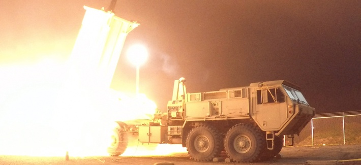 A Terminal High Altitude Area Defense (THAAD) interceptor is launched from the Pacific Spaceport Complex Alaska in Kodiak, Alaska, during Flight Experiment THAAD (FET)-01 on July 30, 2017 (EDT). During the test, the THAAD weapon system successfully interc