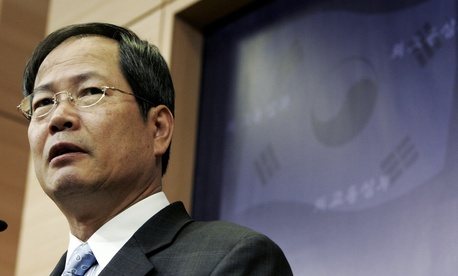 In this Feb. 13, 2008 file photo, South Korean nuclear envoy Chun Yung-woo speaks during a press conference at the Foreign Ministry in Seoul, South Korea.