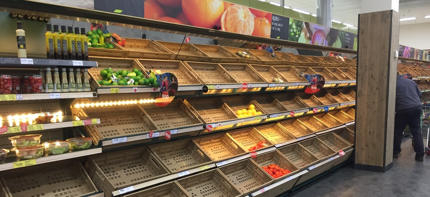A Tesco supermarket after storm Emma hit Ireland in March 2018. Suppliers were unable to deliver food for days.
