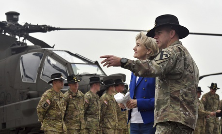 U.S. Ambassador to NATO Kay Bailey Hutchison spoke to U.S. Army soldiers in Belgium last fall. Wednesday In Washington, she also underscored the importance of  the alliance.