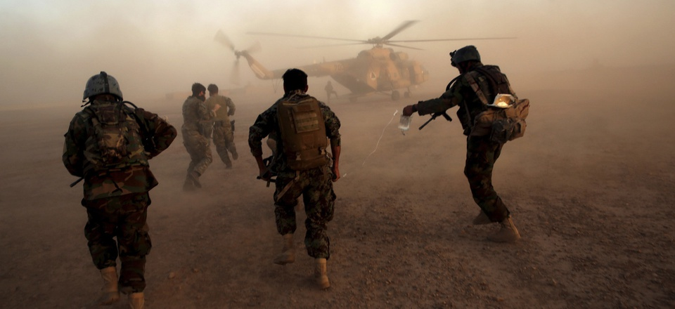 Afghan army commandos train at the Shorab military camp in Helmand province, Afghanistan, in August, 2017.