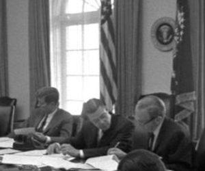 President John F. Kennedy meets with members of the Executive Committee of the National Security Council (EXCOMM) regarding the crisis in Cuba on October 29, 1962