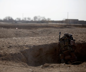 A U.S. Marine with Task Force Southwest provides security during a patrol near Bost Airfield in Afghanistan in January.