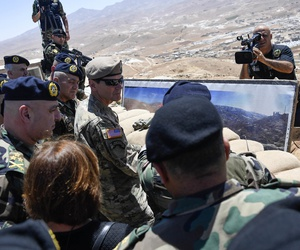 U.S. Army Gen Joseph L. Votel, commander United States Central Command, receives a mission briefing at the Lebanese Armed Forces 9th Brigade observation positon at Dahr Al Jabl overlook, near the Syrian border during his visit to Lebanon June 7, 2017.