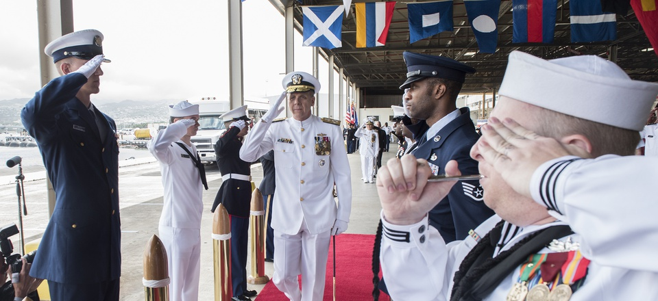 Adm. Phil Davidson, commander of the newly renamed U.S. Indo-Pacific Command, is piped aboard during the USPACOM change of command ceremony.