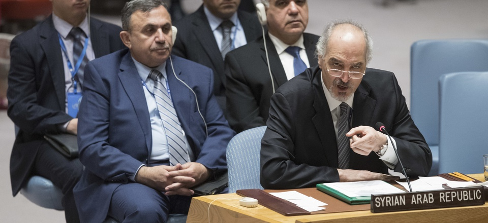 Syrian Ambassador to the United Nations Bashar Ja'afari speaks during a Security Council meeting on the situation in Syria, April 14, 2018 at United Nations headquarters.