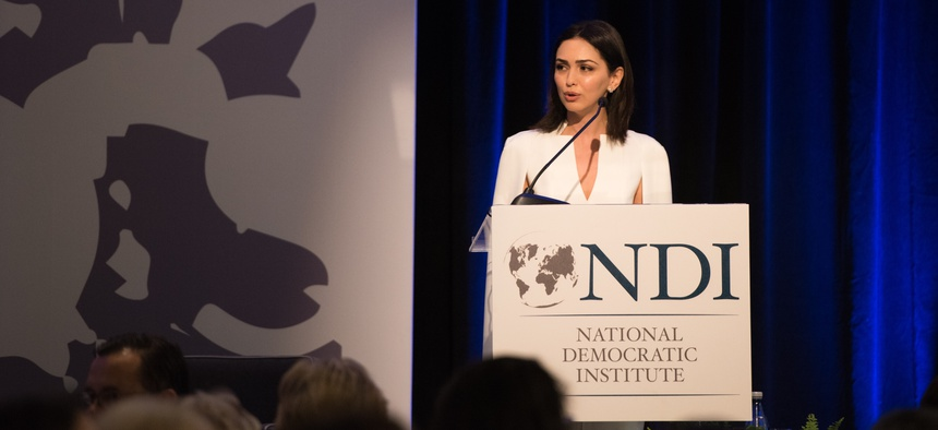 Actor and activist Nazanin Boniadi spoke about the plight of women in Iran at the National Democratic Institute's 13th annual Madeleine K. Albright Luncheon in Washington, DC, May 9, 2018.
