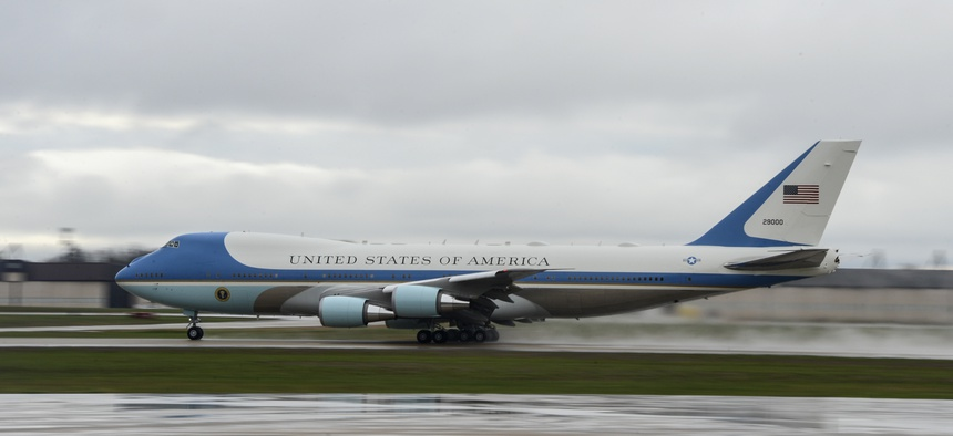 Air Force One departs from Joint Base Andrews, Md. with President of the United States Donald J. Trump on board, April 16, 2018.