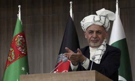 Afghanistan's President, Ashraf Ghani speaks during the integration ceremony of TAPI pipeline in Herat city, west of Kabul, Afghanistan, Friday, Feb. 23, 2018.