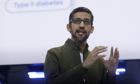 Google CEO Sundar Pichai speaks at the Google I/O conference in Mountain View, Calif., Tuesday, May 8, 2018.
