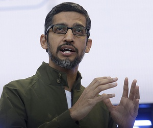 Google CEO Sundar Pichai speaks at the Google I/O conference in Mountain View, Calif.