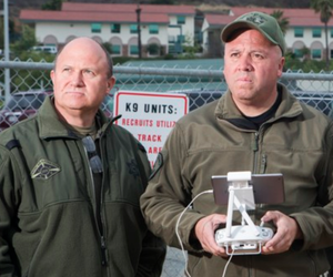 Sergeant Eric Fox, Sergeant John Hanson, and Deputy Joe Wooley of the Los Angeles County Sheriff's Department operate the county's single U.A.S., or drone.