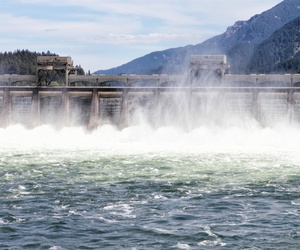 The Bonneville Dam on the Columbia River near Portland, Oregon