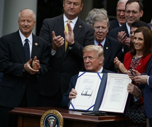 President Trump holds a signing ceremony earlier this month for a bill to overhaul VA health care. During that ceremony he spoke about the difficulty of firing bad employees.