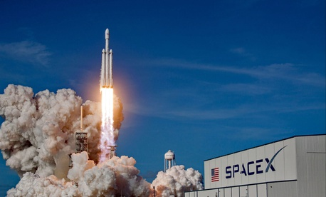 SpaceX image of the launch of the first flight of SpaceX's Falcon Heavy rocket