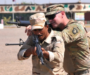 U.S. Soldiers from the 1st Battalion, 502nd Infantry Regiment, Task Force Strike, 101st Airborne Division (Air Assault), took charge of a ranger training program for qualified volunteers from Iraqi security forces at Camp Taji, Iraq, in 2016.