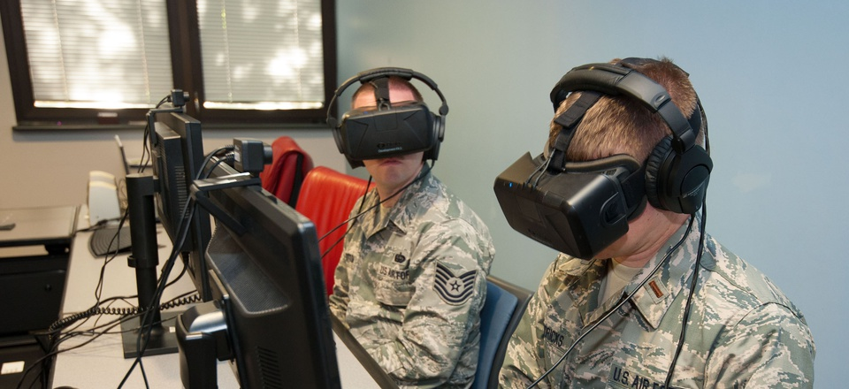 Tech. Sgt. Johnathan Ransbottom, software development NCO in charge for the Curtis E. LeMay Center for Doctrine Development and Education Wargaming Center, and 2nd Lt. Matthew Hendricks at Squadron Officer College Maxwell Air Force Base, Alabama, in 2015.