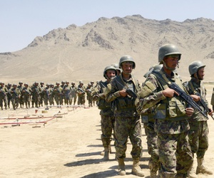 Afghan National Army-Territorial Force members prepare for an exercise at the Kabul Military Training Center in Kabul, Afghanistan, June 11, 2018.