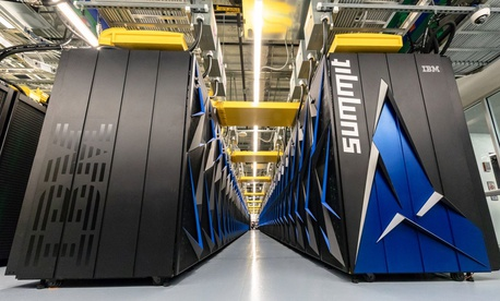 The Summit supercomputer has a peak speed of 200 petaflops, or 200,000 teraflops.