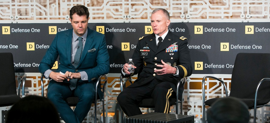 Patrick Tucker and Lt. Gen. Robert Ashley at the Defense One Technology Summit, June 26, 2018.