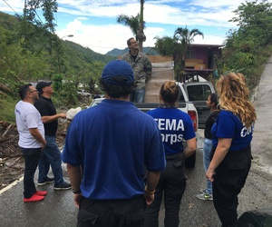 FEMA workers work in Puerto Rico in November after Hurricane Maria.