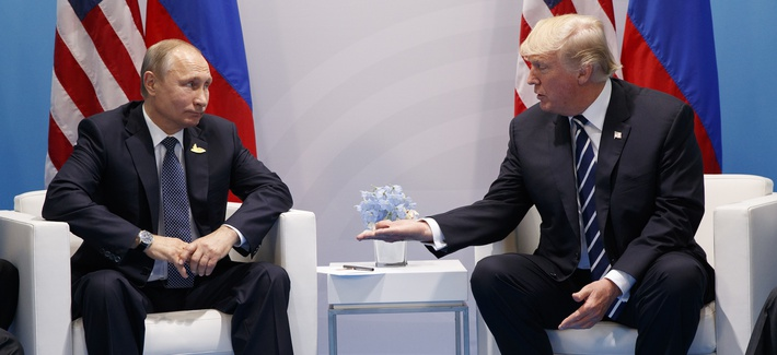 President Donald Trump meets with Russian President Vladimir Putin at the G20 Summit at the G20 Summit, Friday, July 7, 2017, in Hamburg.