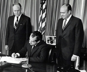 President Richard Nixon signs the Treaty on the Non-Proliferation of Nuclear Weapons, or NPT.