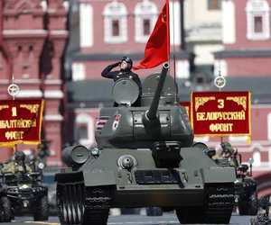 A legendary World War II era Soviet tank T-34 makes its way during the Victory Day military parade to celebrate 73 years since the end of WWII and the defeat of Nazi Germany, in Moscow, Russia, Wednesday, May 9, 2018.