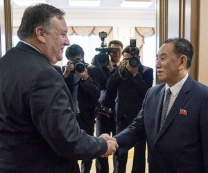 U.S. Secretary of State Mike Pompeo meets with Kim Yong Chol, second from right, a North Korean senior ruling party official and former intelligence chief, for a second day of talks at the Park Hwa Guest House in Pyongyang, North Korea, on July 7, 2018.